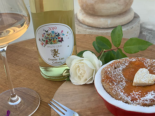 White Wine with Heart Pancake and White Rose